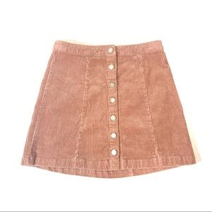 [Forever 21] Corduroy Button-Front Skirt